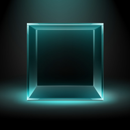 Vector Empty Transparent Glass Box Cube on Dark Black Background with Blue Turquoise Backlight Illustration