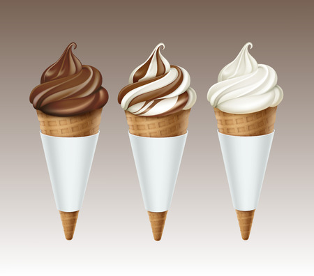 sugar cone: Vector set of Brown White Classic Chocolate Soft Serve Ice Cream Waffle Cone in White Carton Foil Wrapper Close up Isolated on White Background