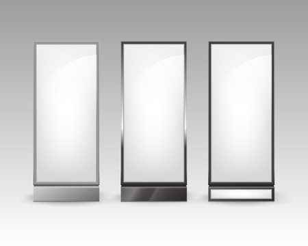rectangular: Vector Set of Black White Rectangular Poster Stands Pillars for Indoor Advertising Front View Isolated on Background