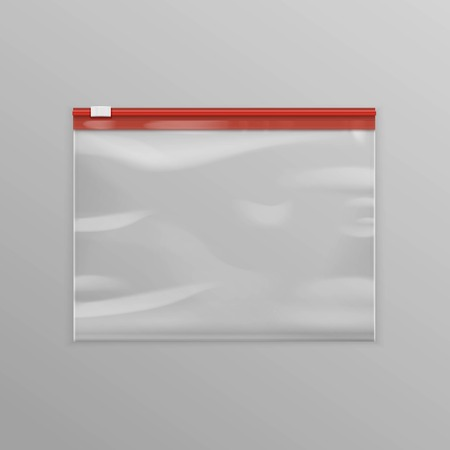 Vector Red Sealed Empty Transparent Plastic Zipper Bag Close up Isolated on Background