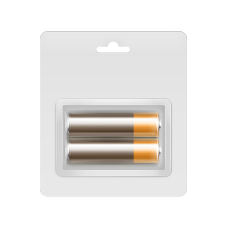 alkaline: Vector Brown Golden Glossy Alkaline AA Batteries in Transparent Blister Packed for branding Close up Isolated on White Background Illustration