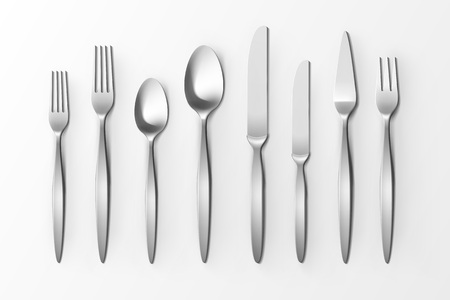 Vector Cutlery Set of Silver Forks Spoons and Knifes Top View Isolated on White Background. Table Setting