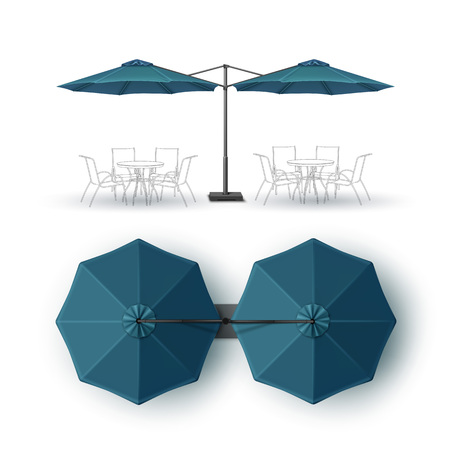 patio: Vector Blue Blank Patio Double Outdoor Beach Cafe Bar Pub Lounge Restaurant Round Umbrella Parasol for Branding Top Side View Mock up Close up Isolated on White Background Illustration