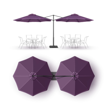 patio: Vector Violet Purple Blank Patio Double Outdoor Beach Cafe Bar Pub Lounge Restaurant Round Umbrella Parasol  for Branding Top Side View Mock up Close up Isolated on White Background Illustration