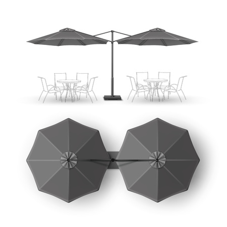 patio: Vector Black Gray Blank Patio Double Outdoor Beach Cafe Bar Pub Lounge Restaurant Round Umbrella Parasol for Branding Top Side View Mock up Close up Isolated on White Background