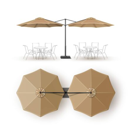 patio: Vector Beige Blank Patio Double Outdoor Beach Cafe Bar Pub Lounge Restaurant Round Umbrella Parasol for Branding Top Side View Mock up Close up Isolated on White Background