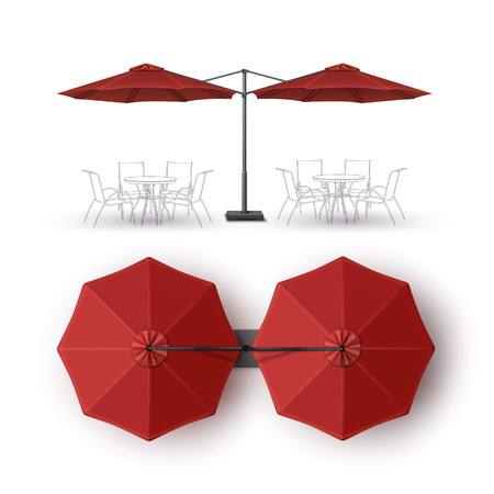 lounge bar: Vector  Red  Blank Patio Double Outdoor Beach Cafe Bar Pub Lounge Restaurant Round Umbrella Parasol  for Branding Top Side View Mock up Close up Isolated on White Background Illustration