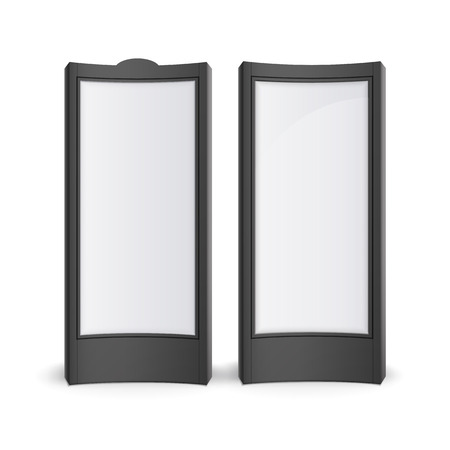 outdoor advertising: Vector Black White Rectangular Poster Stands Pillars for Outdoor Advertising Front View Isolated on Background