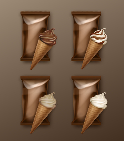 crisp: Vector Set of White Classic and Chocolate Soft Serve Ice Cream Waffle Cone with Brown Plastic Foil Wrapper for Branding Package Design Close up Isolated on Background