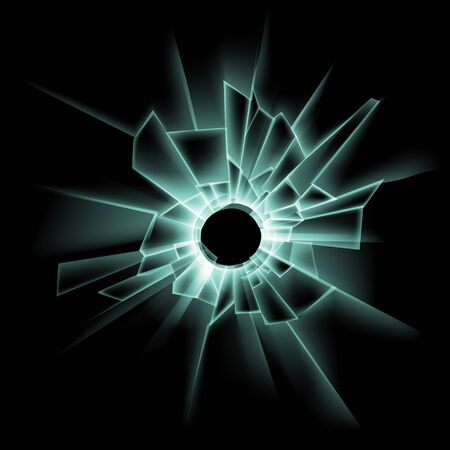 Vector Green Broken Glass Window with Bullet Hole Close up on Dark Black Background