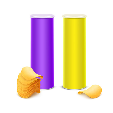 Vector Set of Yellow Purple Tin Box Container Tube for Package Design with Stack of Potato Crispy Chips Close up Isolated on Background