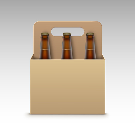 light brown background: Vector Closed Blank Glass Transparent Brown Bottles of Light Dark Beer with Carton Packaging for Branding Close up Isolated on White Background Illustration