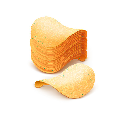 fattening: Vector  Stack of  Potato Crispy Chips Close up Isolated on White Background Illustration