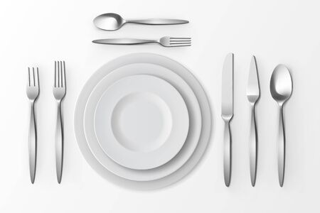 table setting: Vector Cutlery Set of Silver Forks Spoons and Knifes with Plates Top View Isolated on White Background. Table Setting Illustration