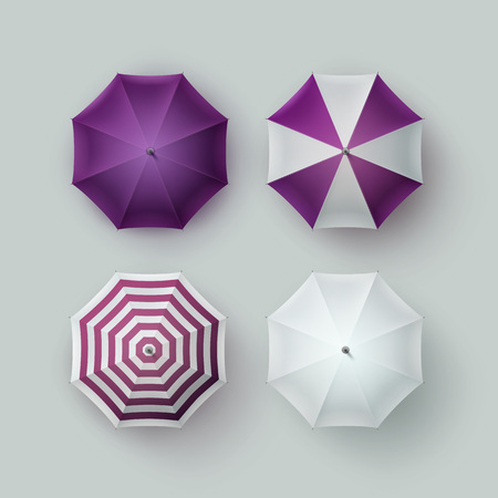 sunshade: Vector Set of White Purple Violet Striped Blank Classic Opened Round Rain Umbrella Parasol Sunshade Top View Mock up Close up Isolated on Background