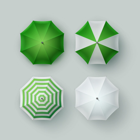 Vector Set of White Green Striped Blank Classic Opened Round Rain Umbrella Parasol Sunshade Top View Mock up Close up Isolated on Background