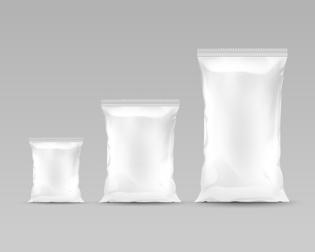 Vector Set of Vertical Sealed Empty Plastic Foil Bags of Different Size for Package Design with Serrated  Edges Front View Close up Isolated on White Background Illustration