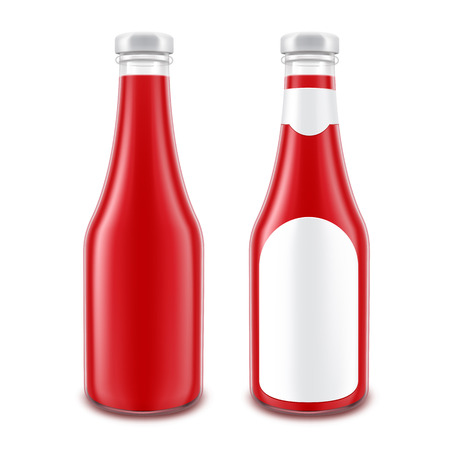 ketchup bottle: Vector Set of Blank Glass Red Tomato Ketchup Bottle for Branding without with Round Label Isolated on White Background