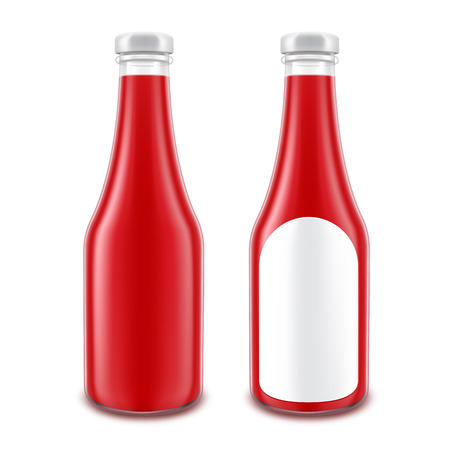 nutritive: Vector Set of Blank Glass Red Tomato Ketchup Bottle for Branding without with Round Label Isolated on White Background