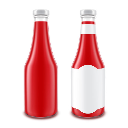 bottled: Vector Set of Blank Glass Red Tomato Ketchup Bottle for Branding without with White Label Isolated on White Background Illustration