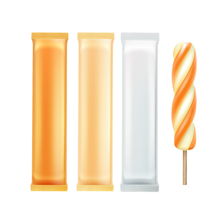 pack ice: Vector Set of Orange Caramel Spiral Popsicle Lollipop Ice Cream Fruit Juice Ice on Stick with Orange White Plastic Foil Wrapper for Branding Package Design Close up Isolated on Background