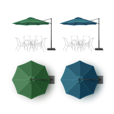 beach side: Vector Set of Blue Green Blank Patio Outdoor Beach Cafe Bar Pub Lounge Restaurant Round Umbrella Parasol for Branding Top Side View Mock up Close up Isolated on White Background