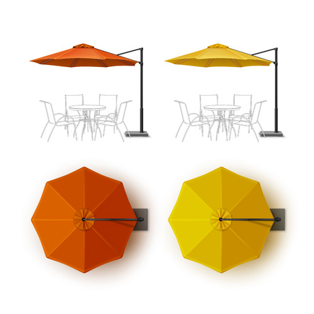 lounge bar: Vector Set of Orange Yellow Blank Patio Outdoor Beach Cafe Bar Pub Lounge Restaurant Round Umbrella Parasol for Branding Top Side View Mock up Close up Isolated on White Background Illustration