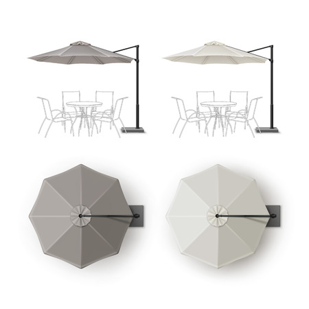 patio: Vector Set of Gray Blank Patio Outdoor Beach Cafe Bar Pub Lounge Restaurant Round Umbrella Parasol for Branding Top Side View Mock up Close up Isolated on White Background