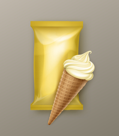 Vector Vanilla Banana Soft Serve Ice Cream Waffle Cone with Yellow Plastic Foil Wrapper for Branding Package Design Close up Isolated on Background Illustration
