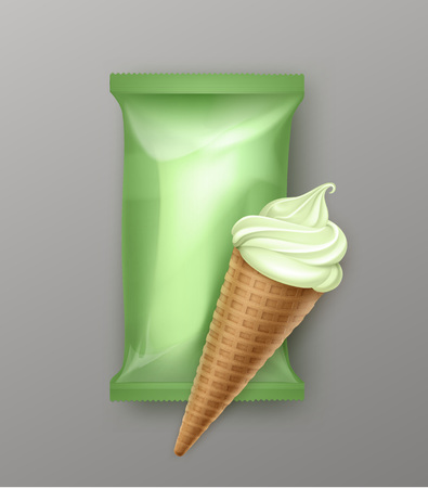 sugar cone: Vector Pistachio Kiwi Mint Soft Serve Ice Cream Waffle Cone with Light Pink Plastic Foil Wrapper for Branding Package Design Close up Isolated on Background
