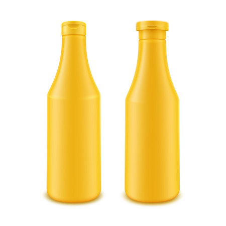 mustard: Vector Set of Blank Plastic Yellow Mustard Bottle for Branding without label Isolated on White Background Illustration