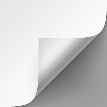 Vector Recroquevillé coin de papier blanc avec une ombre maquette Close up isolé sur fond gris