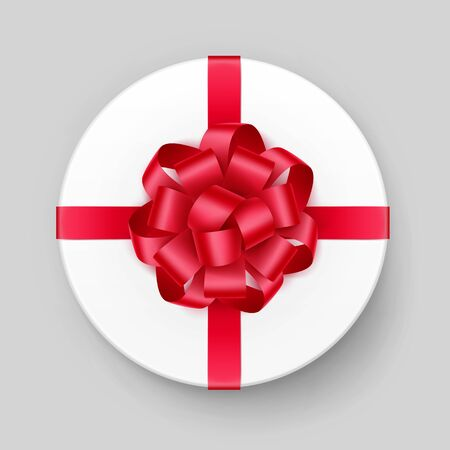 Vector White Round Gift Box with Shiny Red Scarlet Bow and Ribbon Top View Close up Isolated on Background