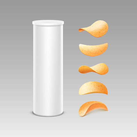 Vector Set of White Tin Box Container Tube for Package Design with Potato Crispy Chips of Different Shapes Close up Isolated on Background Stock Photo