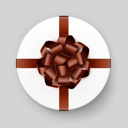 brown box: Vector White Round Gift Box with Shiny Brown Bow and Ribbon Top View Close up Isolated on Background