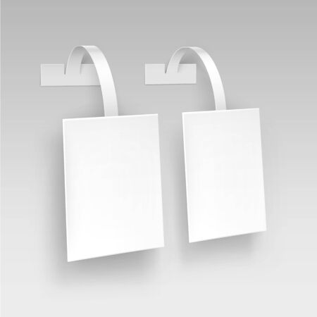 wobbler: Vector Blank White Square Papper Plastic Advertising Price Wobbler Isolated on Background