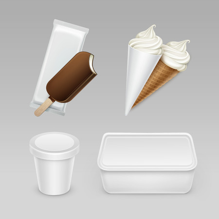 serve: Vector set of Chocolate  Choc-ice Lollipop Soft Serve Ice Cream Waffle Cone with Plastic White Wrapper and Box Container for Package Design Mock up Close up Isolated on Background