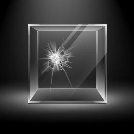 radial cracks: Vector Empty Transparent Broken Crack Glass Box Cube Isolated on Dark Black Background with Backlight Illustration