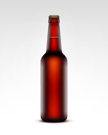 tempting: Vector Closed Blank Glass Transparent Brown Bottle of  Dark Red Beer for Branding Close up Isolated on White Background