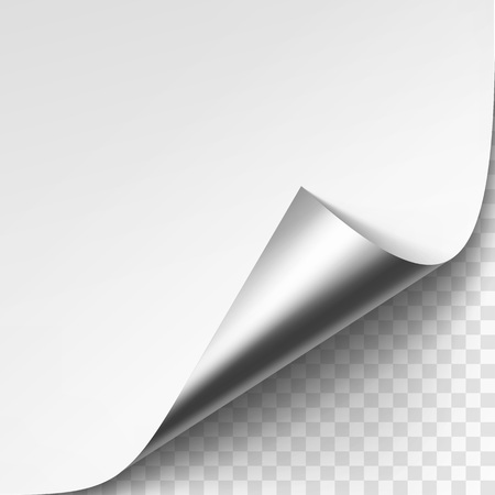 Vector Curled Silver Metalic Corner of White Paper with Shadow Mock up Close up Isolated on Transparent Background Vettoriali