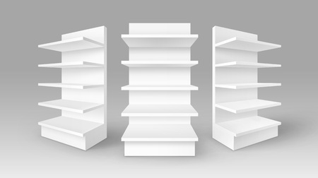 foreshortening: Vector Set of White Blank Empty Exhibition Trade Stands Shop Racks with Shelves Storefronts Isolated on Background