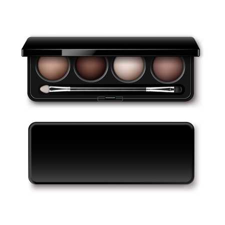 eye shadows: Vector Round MultiColored Pastel Light Brown Cream Ocher Eye Shadows in Black Rectangular Plastic Case with Makeup Brush Applicator Top View Isolated on White Background