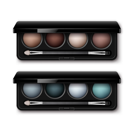 eye shadows: Vector Set of Round MultiColored Pastel Light Brown Cream Ocher Dark Blue Azure Gray Eye Shadows in Black Rectangular Plastic Case with Makeup Brush Applicator Top View Isolated on White Background