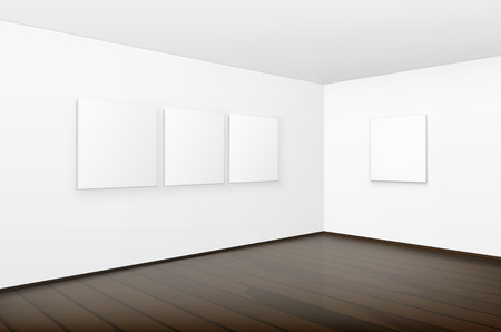 foreshortening: Vector Empty Blank White Mock Up Posters Pictures Frames on Walls with Brown Wooden Floor in Gallery Illustration
