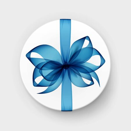 anniversary sale: Vector White Round Gift Box with Transparent Light Blue Bow and Ribbon Top View Close up Isolated on Background Illustration