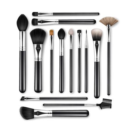 brow: Vector Set of Black Clean Professional Makeup Concealer Powder Blush Eye Shadow Brow Brushes with Black Handles Isolated on White Background Illustration