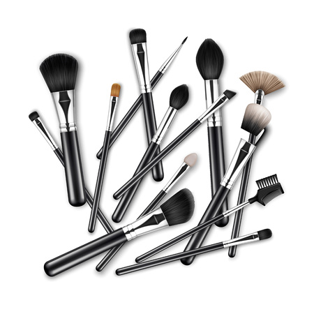 Vector Set of Black Clean Professional Makeup Concealer Powder Blush Eye Shadow Brow Brushes with Black Handles scattered chaotically Isolated on White Background