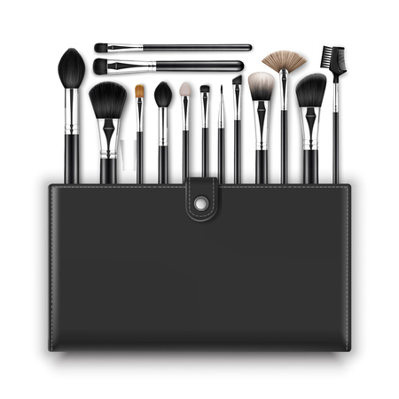 leather background: Vector Set of Black Clean Professional Makeup Concealer Powder Blush Eye Shadow Brow Brushes with Black Handles and Leather Case Isolated on White Background Illustration