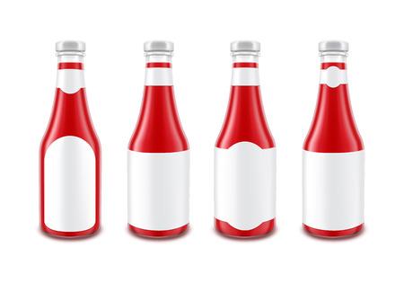 ketchup bottle: Set of Blank Glass Red Tomato Ketchup Bottle for Branding