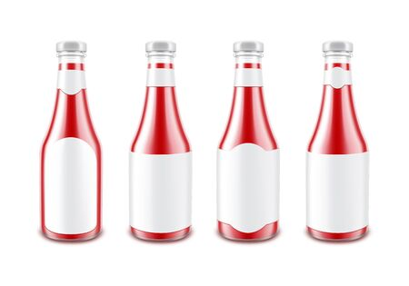 nutritive: Set of Red Tomato Ketchup Bottle with White Label Isolated